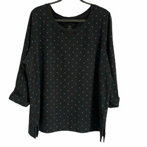 Karen Scott Grey Sweater with Blue Polka Dots